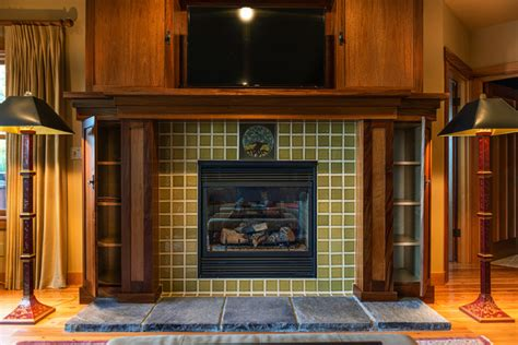 rookwood tile fireplace craftsman living room