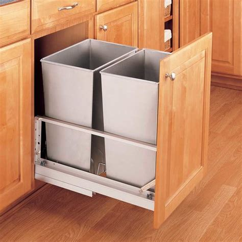 kitchen trash can cabinet rev a shelf trash pullout 32 quart stainless steel 6327