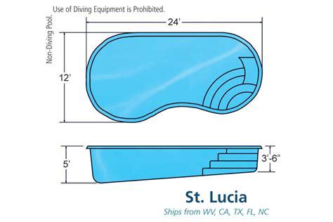 pool dimensions st lucia medium fiberglass inground viking swimming pool
