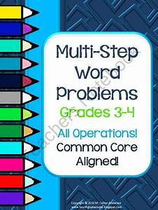 Multi Step Common Core Math Word Problems For Grades 3  4