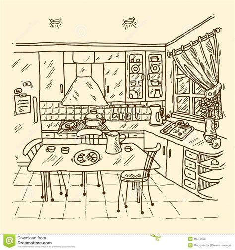 croquis cuisine croquis d 39 intérieur de cuisine illustration de vecteur