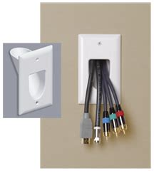 passe cable tv mural wall plate single recessed cable pass thru white