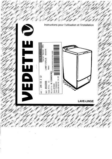 notice lave linge vedette notice lave linge vedette egee