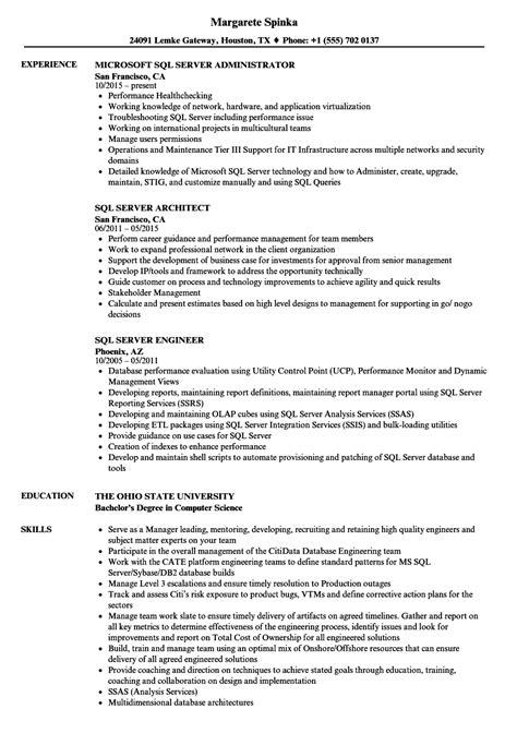 Sql Analyst Resume by Sql Server Resume Sles Velvet