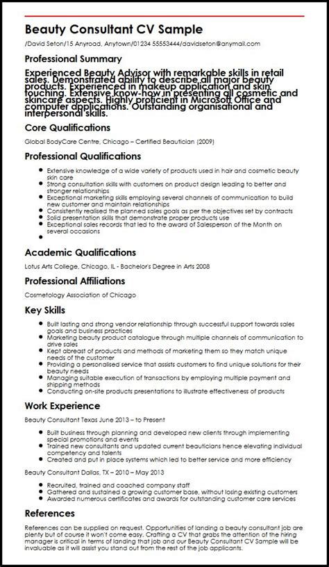 cv for beauty therapist beauty consultant myperfectcv
