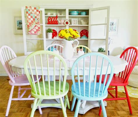 painting kitchen table and chairs different colors hopscotch lane colorful dining room chairs