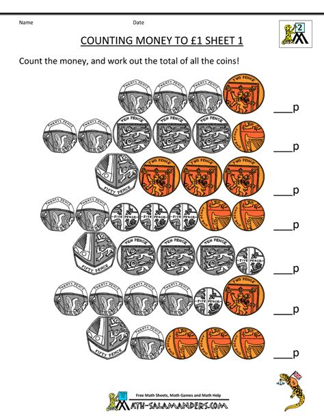 counting money worksheets uk coins money worksheets and
