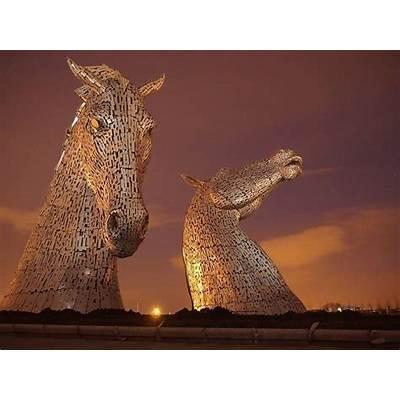 Stunning sculpture: The Kelpies horse-heads open in Scotland