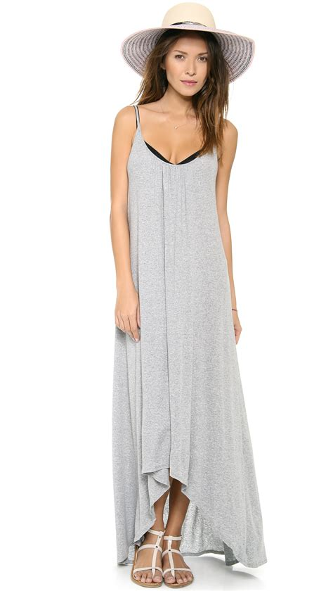 lyst  dots spaghetti strap maxi dress  gray