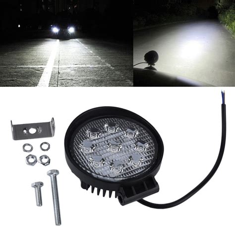 6 inch round led offroad lights 4 inch 27w 12v 24v led work light spot flood round led