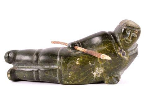 Eskimo Inuit Seal Hunter Soap Stone Sculpture