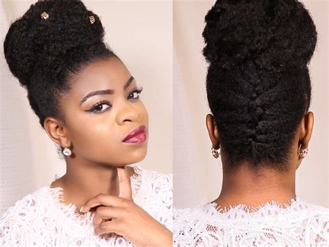 French Braided Updo Bun On 4b/c Natural Hair- Protective
