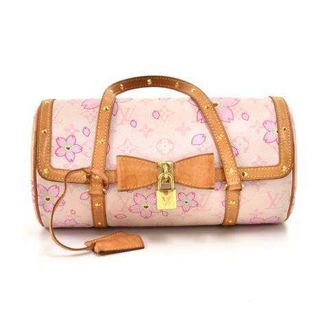 louis vuitton papillon  cherry blossom white monogram canvas murakami handbag