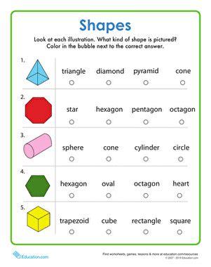 identify shapes worksheet education