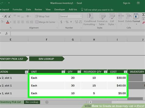 how to create an inventory list in excel with