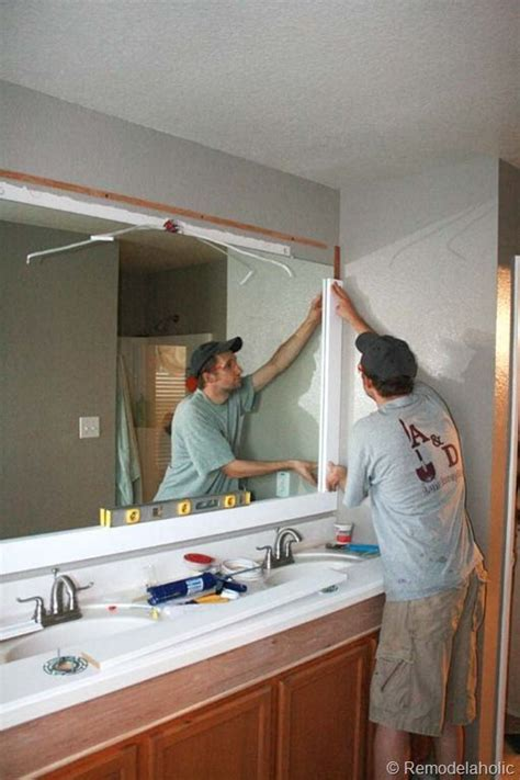 Large Bathroom Mirrors Ideas by Remodelaholic Framing A Large Bathroom Mirror Bathroom