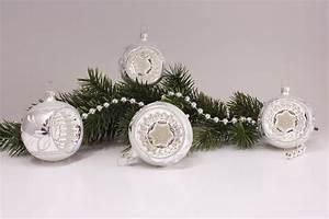 Weihnachtskugeln Aus Lauscha : 4 reflexkugeln 6cm silber glanz matt umrandet ~ Orissabook.com Haus und Dekorationen