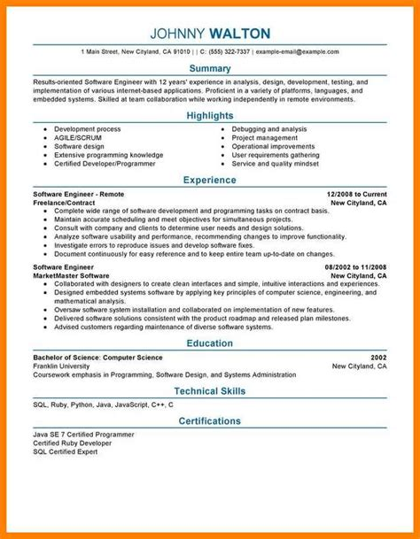 Resume Tips For Software Engineers by 11 Resume Software Engineering Applicationleter