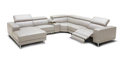 divani casa wade modern light grey leather sectional sofa