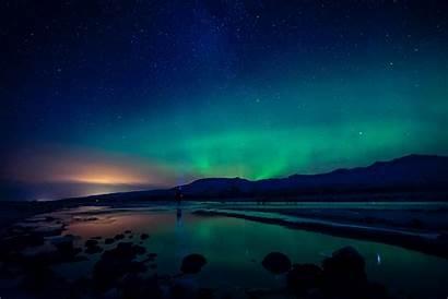 Lights Northern Night Aurora Rainbow Iceland 4k
