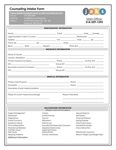 initial intake form benefits of using intake forms for medication treatments