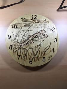 Bass, Clock, Wood, Burn, Done, By, Hand