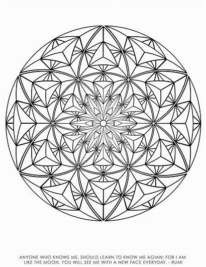 Coloring Geometry Sacred Pages Illusion Optical Fibonacci