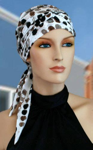 dots long tail head wrap cancer chemo hair