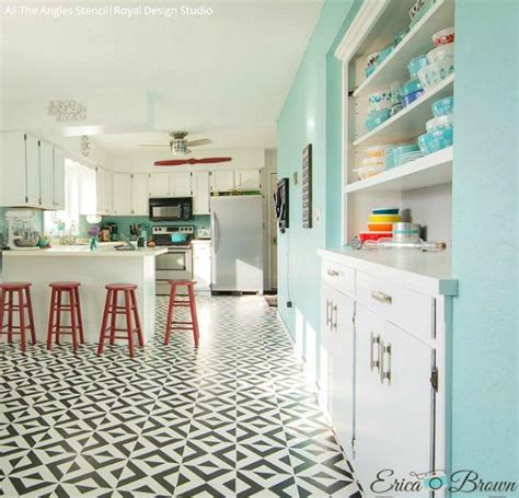 kitchen tile stencils painted tile floor stencils for painting 16 diy ideas 3289