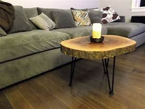 log slice coffee or end table With log coffee table and end tables