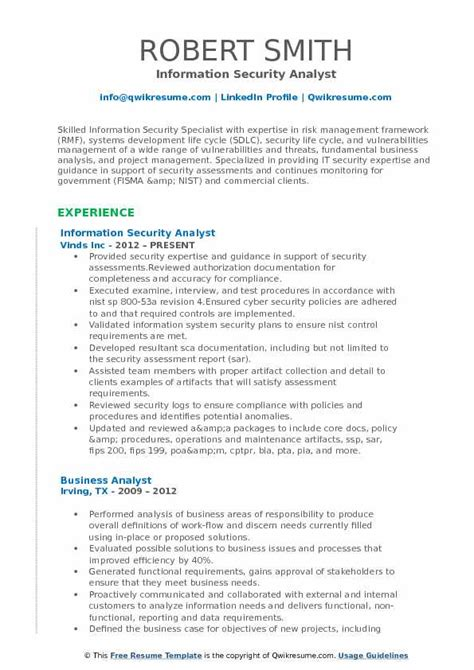 information security analyst sle resume information