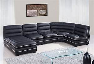 u4150 sectional sofa black bonded leather global With leather sectional sofa usa