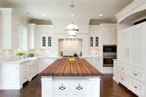 White Cabinets Countertops Kitchen by White Kitchen Cabinets With Butcher Block Countertops