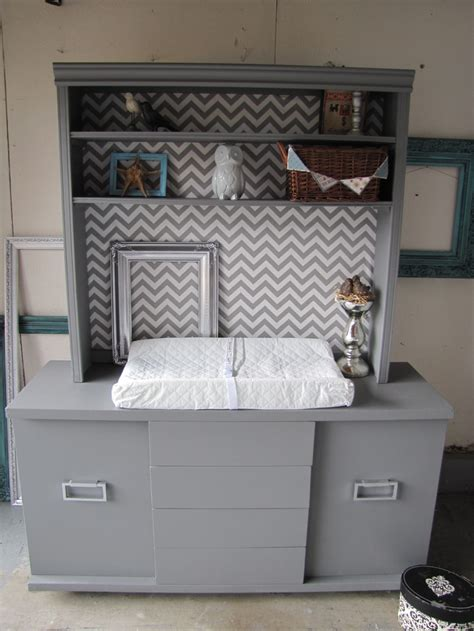 Repurposed Sideboard by Gray White Chevron Baby Changing Table Dresser From