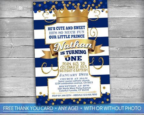 Prince Birthday and Baptism Invitation Prince Baptism