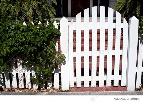picture  white picket fence gate