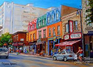 Schwartzs Deli Montreal Street Scene Painting by Carole