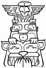 Totem Pole Coloring Pages Poles Printable Drawing Drawings Template Easy Designs Clipart Colouring Outline Native American Owl Tiki Clip Animals sketch template