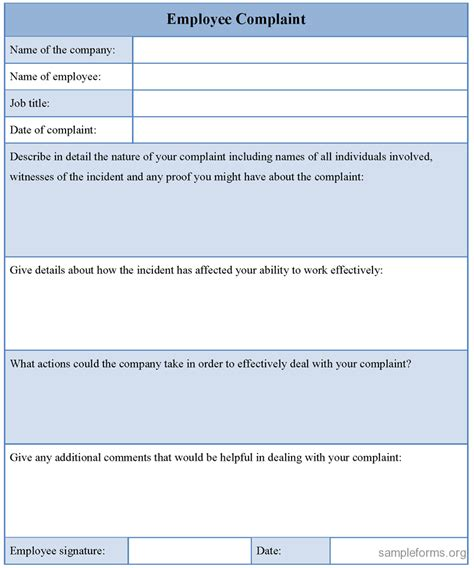 complaint template employee complaint form sle forms