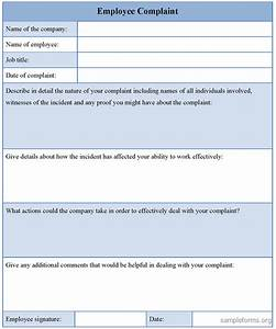 Employee complaint form template sample forms for Hr complaint form template