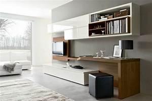 Schreibtisch Im Wohnzimmer Integrieren : wohnwand mit schreibtisch als arbeitsplatz im wohnzimmer ~ Bigdaddyawards.com Haus und Dekorationen