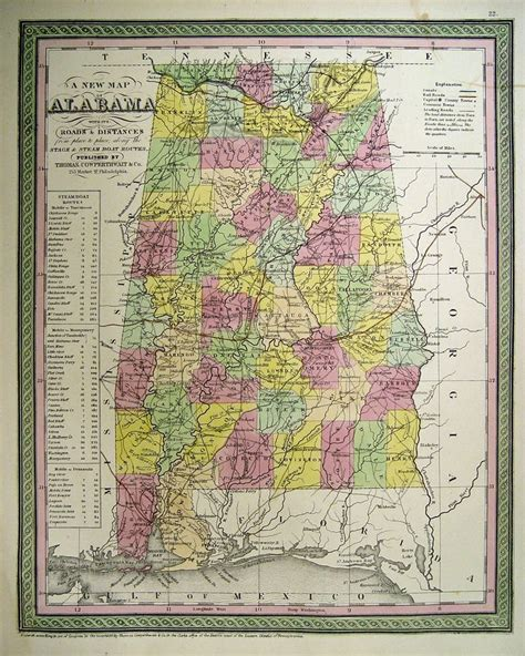 Alabama Antique Map Vintage Map Old Map