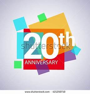 20th anniversary logo, 20 years anniversary colorful ...