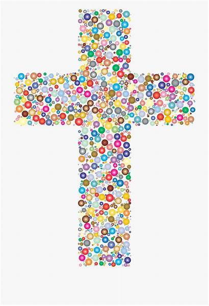 Cross Christian Colored Clipart Clip Colorful Circles