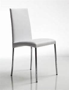 Sedia in metallo con gambe cromate rivestimento in pelle for Sedie in pelle per cucina