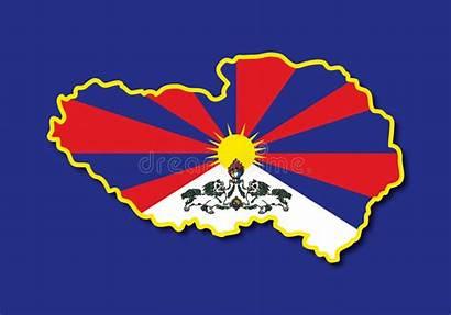 Tibet Map Kaart Tibetan Relief Programma Vettore