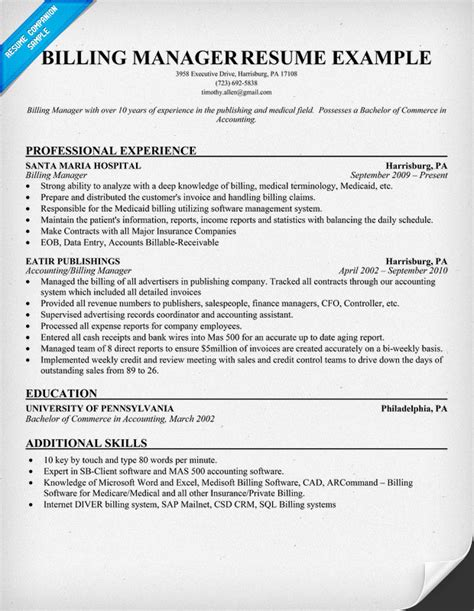 billing manager resume sle resumes design