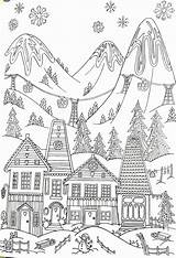 Coloring Winter Adult Printable Ski Skiing Resort Whimsical Colouring Adults Village Scenery Sheets Easy Drawing Bear Landon Gcssi sketch template
