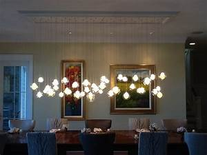 kadur chandelier over dining room table custom blown With contemporary pendant lighting for dining room