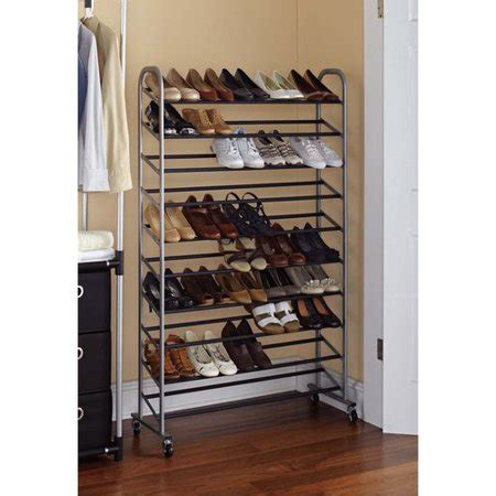 walmart shoe rack mainstays 10 tier rolling shoe rack silver black